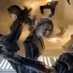 Here's a sneak peek at new artwork of this scene from Fate of the Jedi: Backlash. Click the image to see the full image at Suvudu of Tyria Sarkin Tainer and Jaina Solo in action.