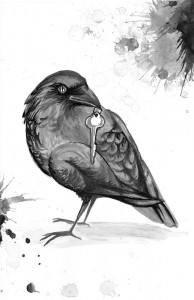 "Illustration for ""Crow Bait and Switch"" by Tish Pahl"