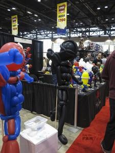 All sorts of fandom balloons on display
