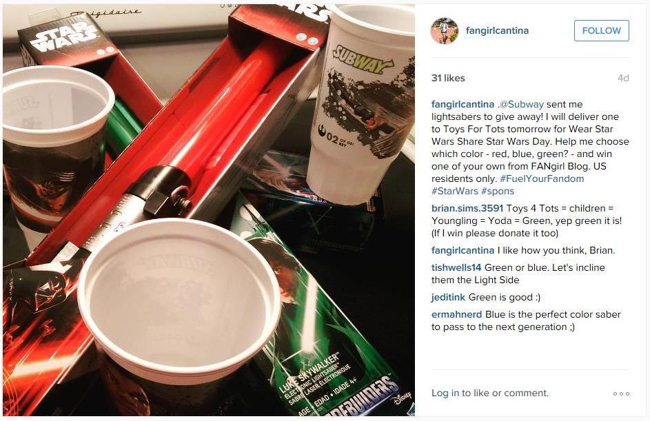 Subway TFA giveaway Instagram 1