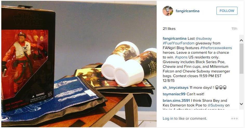 Subway TFA giveaway Instagram 3