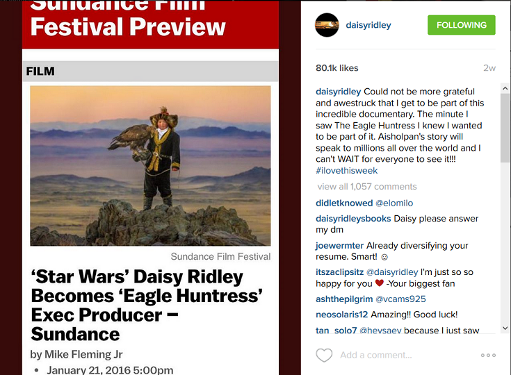 Daisy Ridley Eagle Huntress Instagram