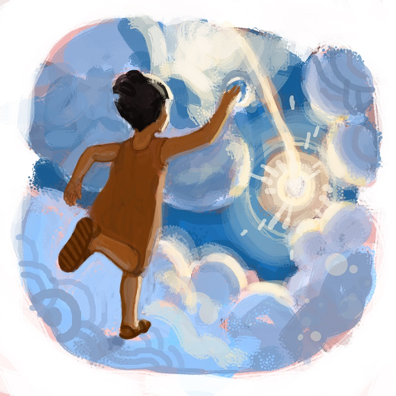 """Sometimes Arya would bounce upon the clouds that sailed across the skies at high noon chasing after a ray of light with her mirror."" Illustrations by Shane Talbott. Copyright Priya Chhaya."