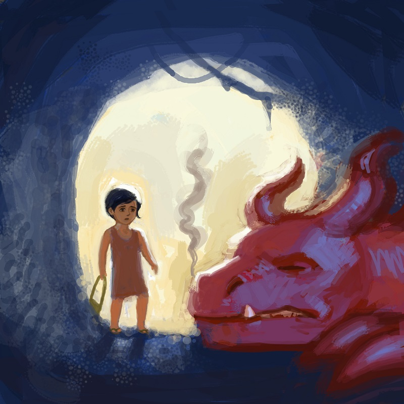 """There, right in front of her, lay a slumbering dragon."" (Illustrations by Shane Talbott. Copyright Priya Chhaya.)"