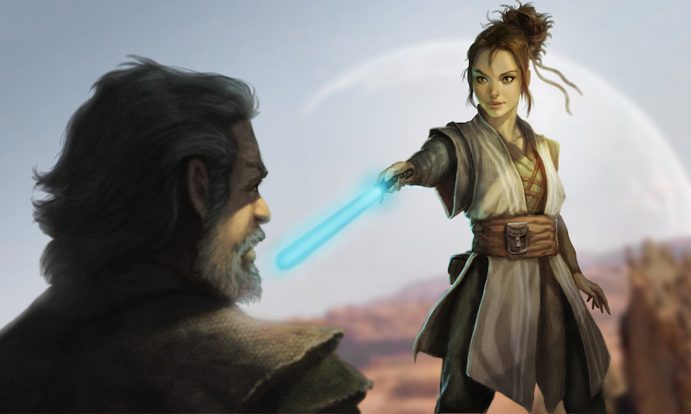 Rey Training Concept Art from The Art of The Last Jedi