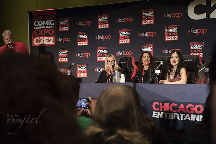 Susan Eisenberg, Vanessa Marshall, and Charlet Chung on the Women of Voice Acting Panel at C2E2 2018