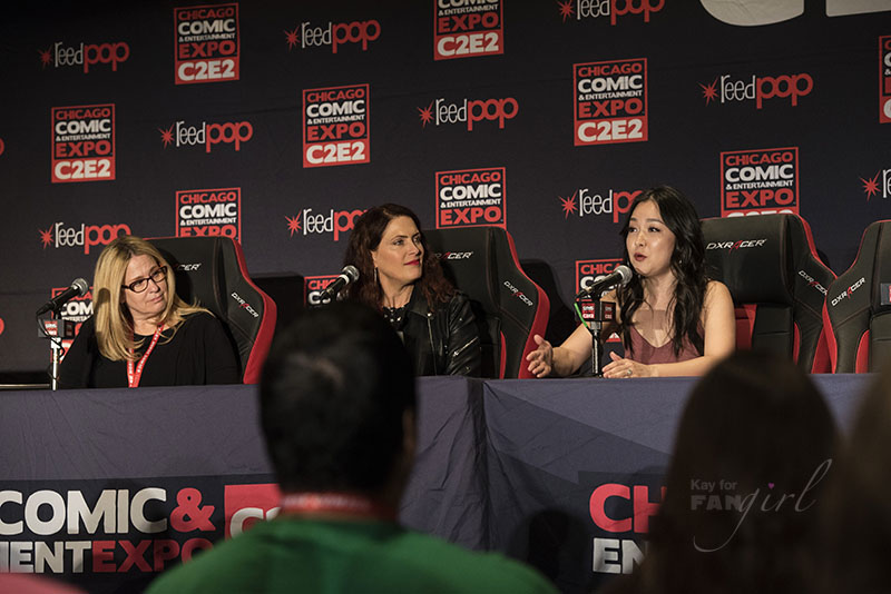 Charlet Chung speaks at the Women of Voice Acting Panel at C2E2 2018