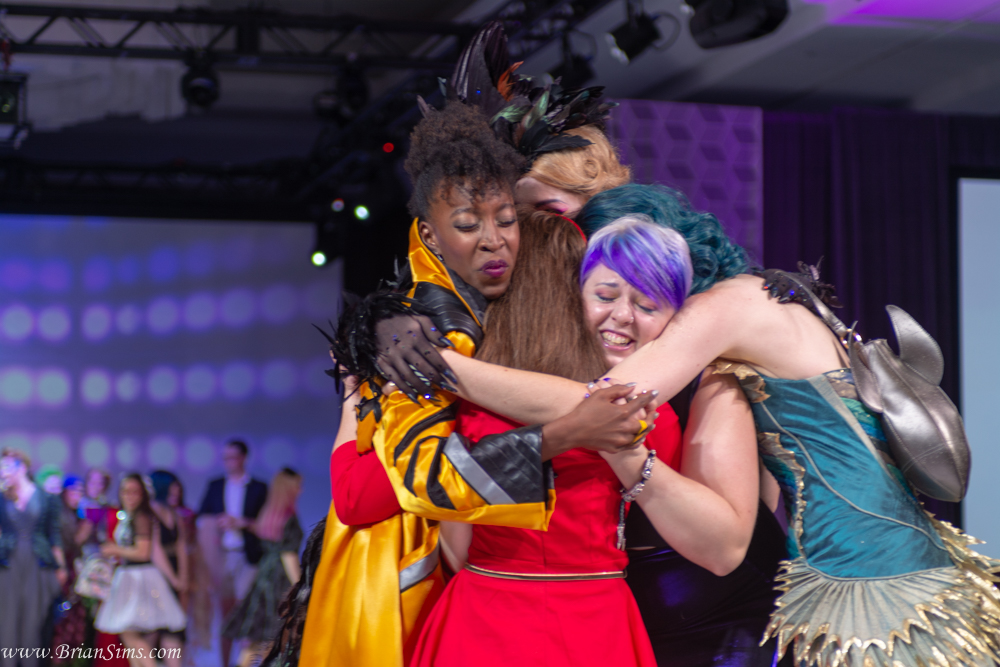 Winners Hugging at the 2018 Her Universe Fashion Show