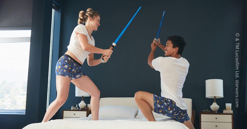 Star Wars MeUndies lightsaber battle