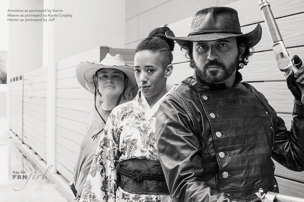 Hector, Maeve, and Armistice from Westworld portraits