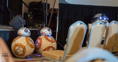 Fan-built BB-8s awaiting a panel at Dragon Con 2019