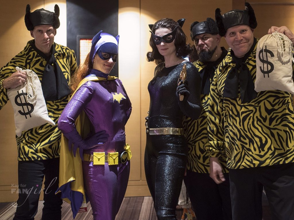 TV Classic Batgirl, Catwoman, and Henchmen costumes at Dragon Con 2019. Photo by Kay.