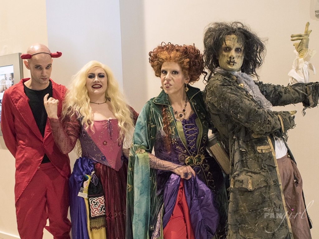 Winnifred and Sarah Sanderson, Billy Butcherson from Hocus Pocus at Dragon Con 2019. Photo by Kay.