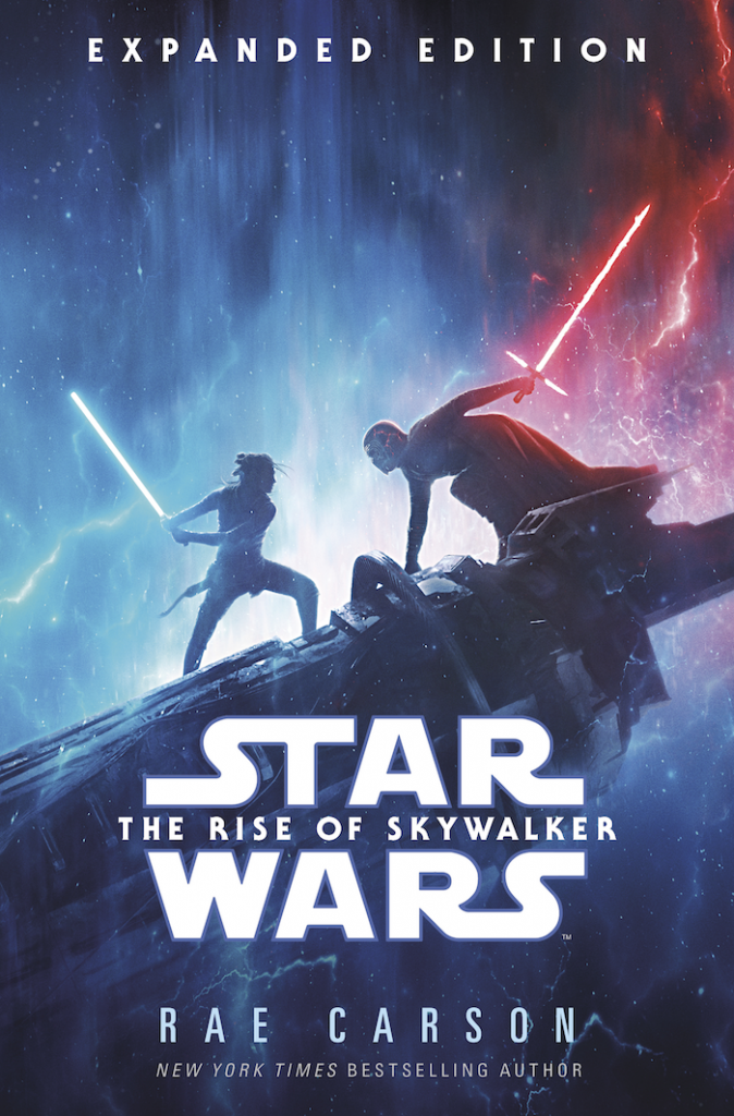 The Rise of Skywalker: Expanded Edition cover image depicts Rey and Kylo with their lightsabers drawn upon a piece of the Death Star