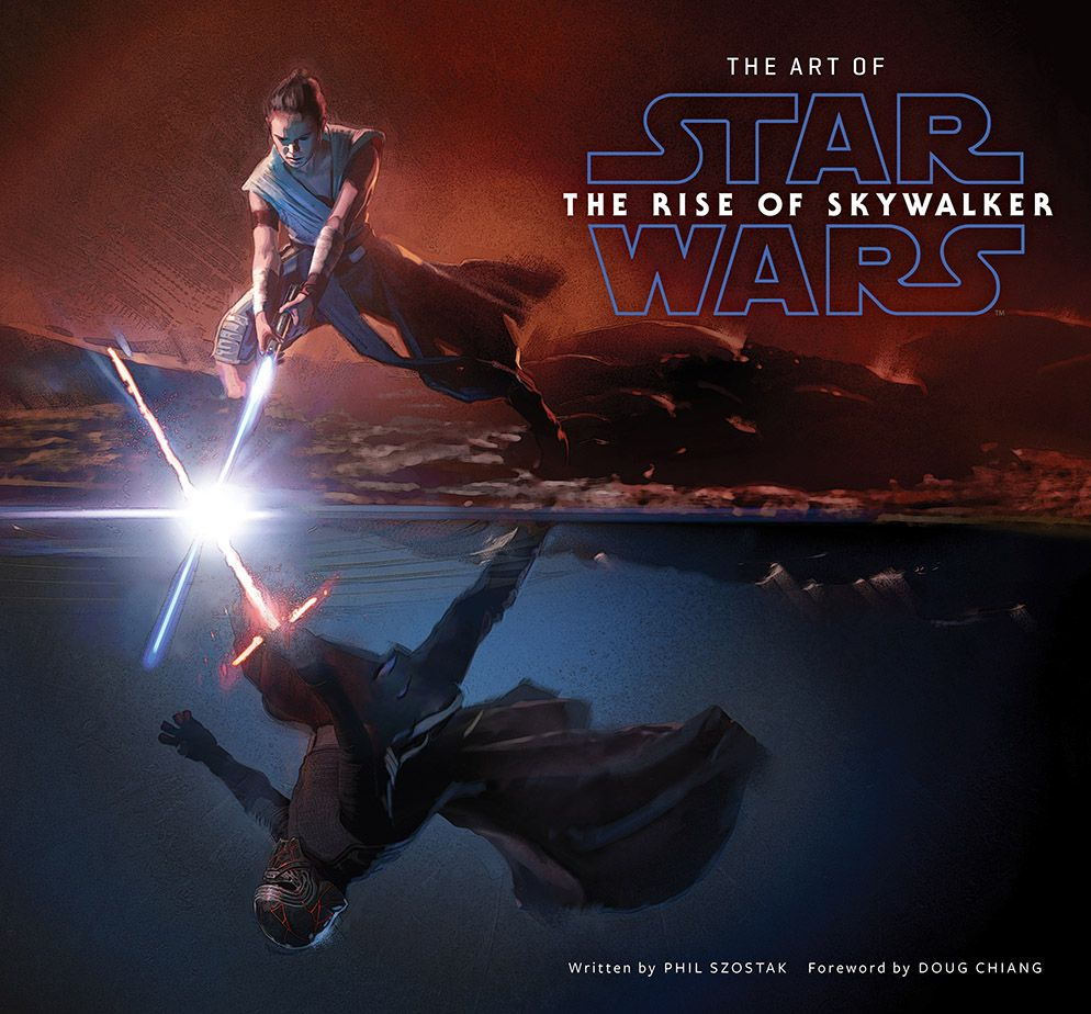 The Art of The Rise of Skywalker Cover depicting Rey and Kylo crossing lightsabers through parallel spaces.